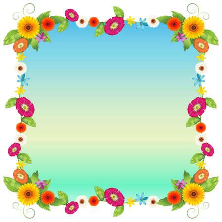 margen: Ilustración de una plantilla vacía de color azul con flores de colores sobre un fondo blanco