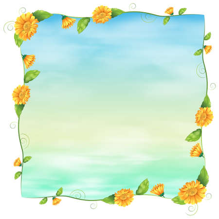 beautification: Illustration of an empty blue template with yellow flowers on a white background