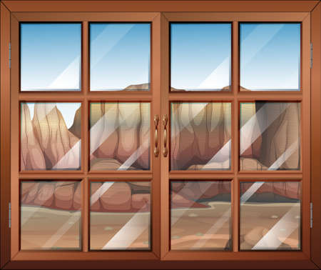opened eye: Illustration of a closed window at the desert