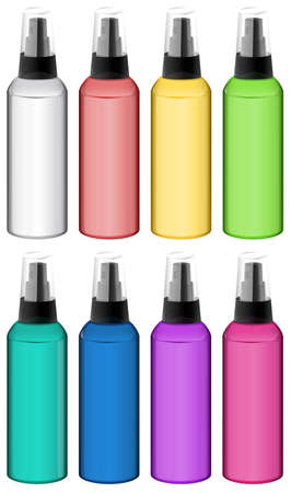 dispensing: Illustration of the collection of spray bottles on a white background