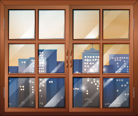 ventilation: Illustration of a closed window overlooking the city buildings Illustration