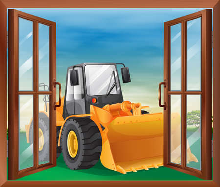Illustration of a window with a bulldozer