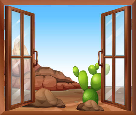 opened eye: Illustration of a window with a cactus