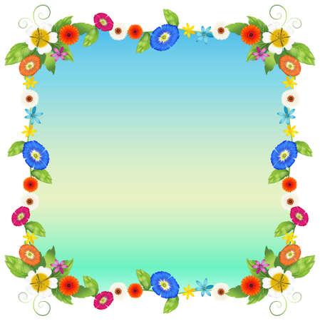 margen: Ilustración de una plantilla vacía de flores sobre un fondo blanco Vectores