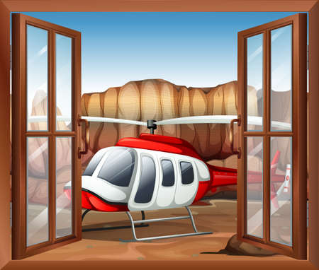 opened eye: Illustration of a window with a chopper outside