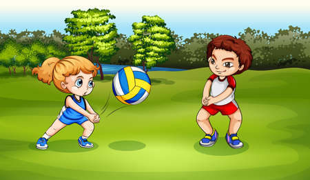 Illustration of a girl and a boy playing volleyball Vector