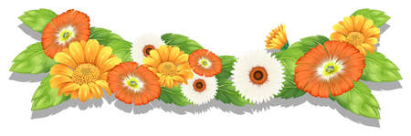 Illustration of the fresh flowers on a white background