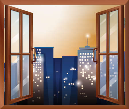 opened eye: Illustration of an open window across the city buildings