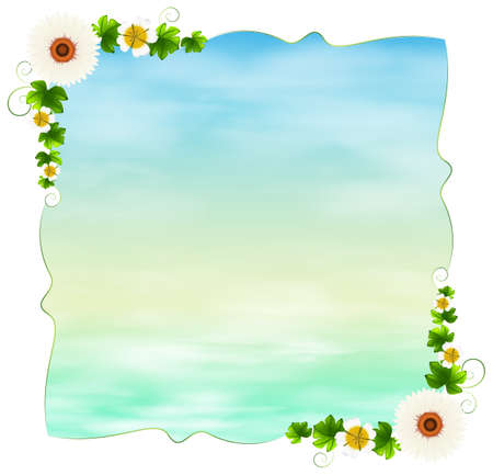 flowery: Illustration of an empty template with plants on a white background