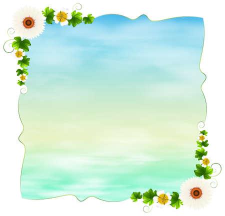margen: Ilustración de una plantilla vacía con plantas sobre un fondo blanco Vectores