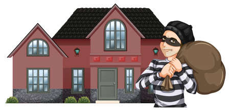 Illustration of a robbery on a white background