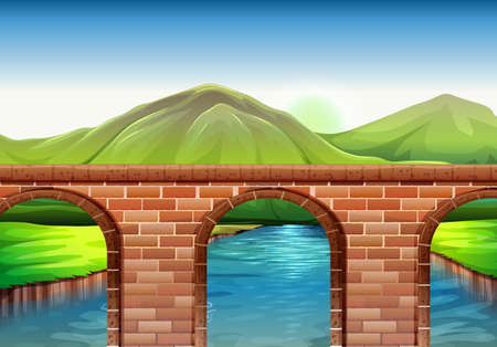 manmade: Illustration of a bridge across the mountains