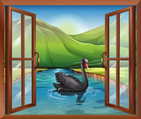 opened eye: Illustration of a window near the river with a goose