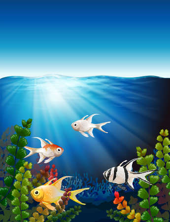 Illustration of a group of fishes underwater Vector