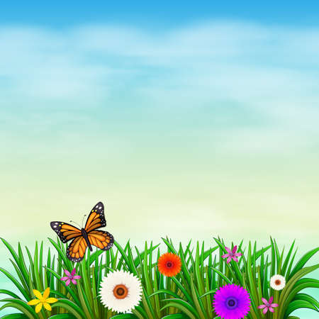 Illustration of a garden with fresh flowers and a butterfly Vector