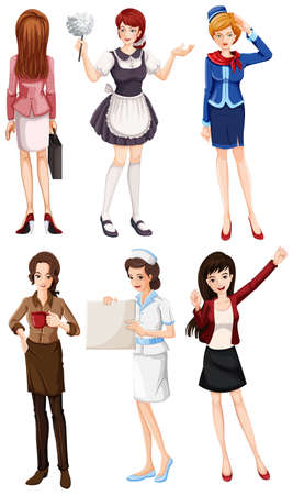 housemaid: Illustration of the female with different works on a white background