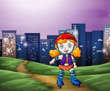 rollerskater: Illustration of a young girl rollerskating across the tall buildings