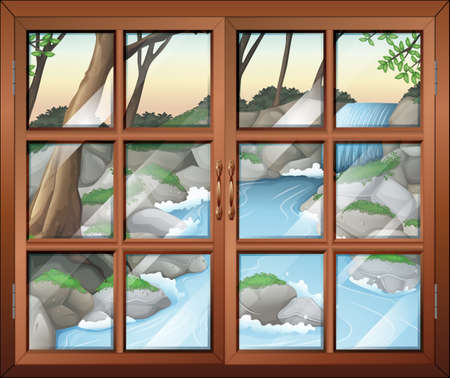 wall mounted: Illustration of a closed window near the waterfall