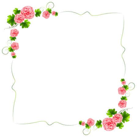 白い背景の上のカーネーションのピンクの花との国境のイラスト