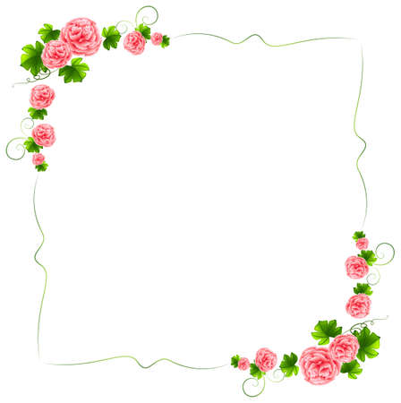 Illustration of a border with carnation pink flowers on a white background Illustration
