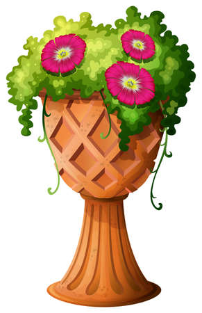 fresh flowers: Illustration of a pot with fresh flowers on a white