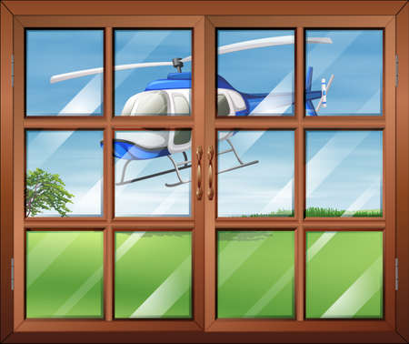 opened eye: Illustration of a closed window with a helicopter outside