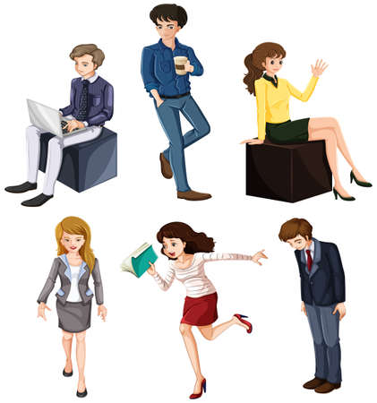 Illustration of the businessminded individuals on a white background Vector