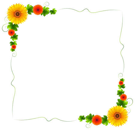 enhancement: Illustration of a colourful floral border on a white background Illustration