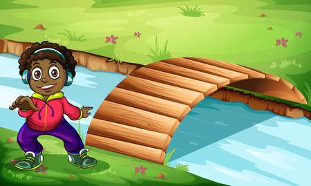 viaducts: Illustration of a boy near the bridge