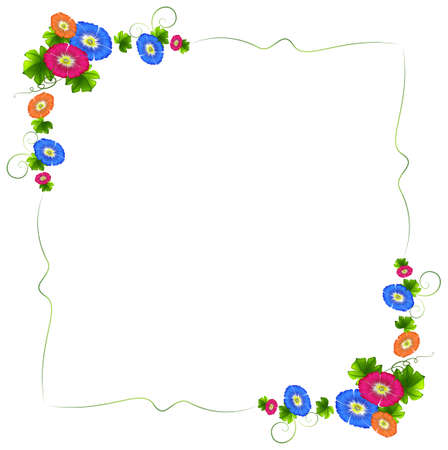 enhancement: Illustration of a border design with fresh colorful flowers on a white background