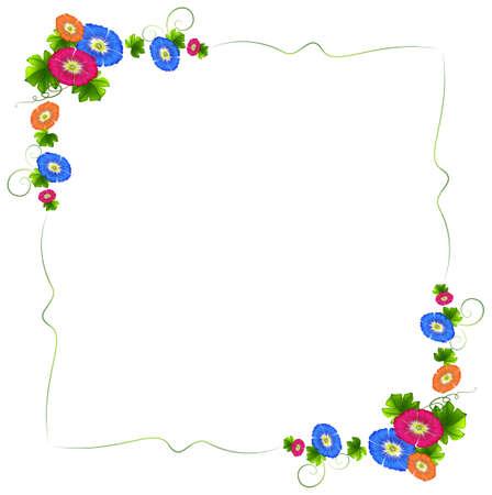 margen: Ilustración de un diseño de la frontera con flores frescas de colores sobre un fondo blanco