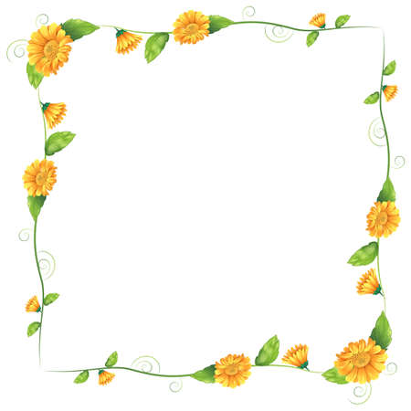 beautification: Illustration of a border with orange flowers on a white background
