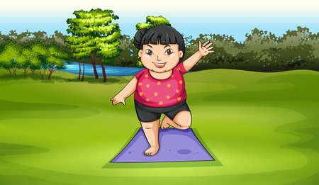 yoga outside: Illustration of a fat girl exercising