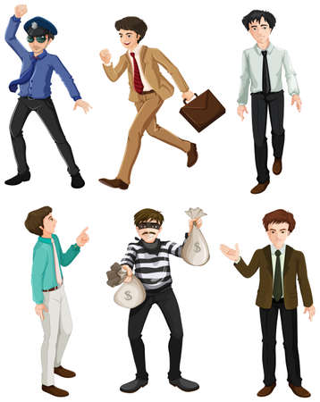 Illustration of the different work of men on a white background Vector