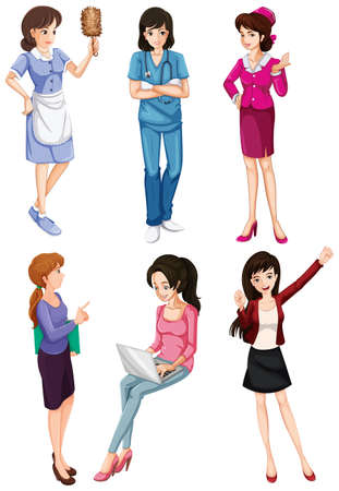 encoding: Illustration of the ladies with different professions on a white background