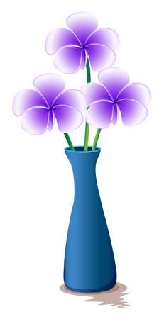 magnoliophyta: Illustration of a blue vase with fresh flowers on a white background