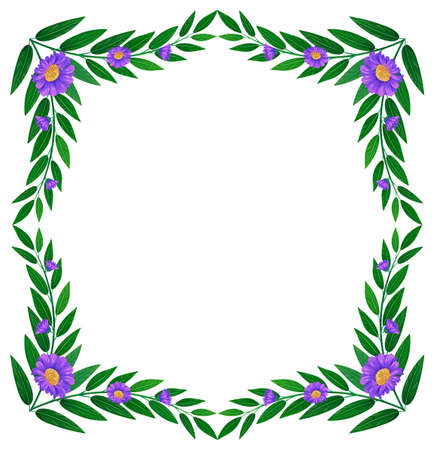 beautify: Illustration of a border made of leaves and violet flowers on a white background Illustration