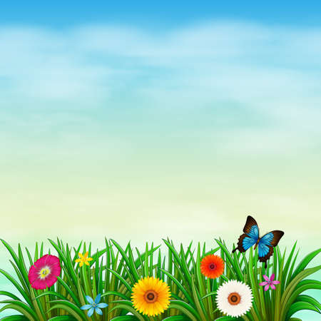 Illustration of a garden under the clear blue sky with a butterfly Vector
