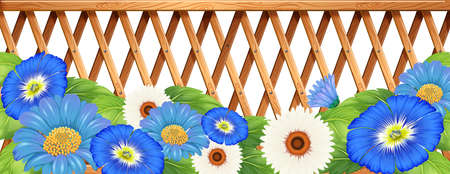 beautification: Illustration of a fence with blue and white flowers