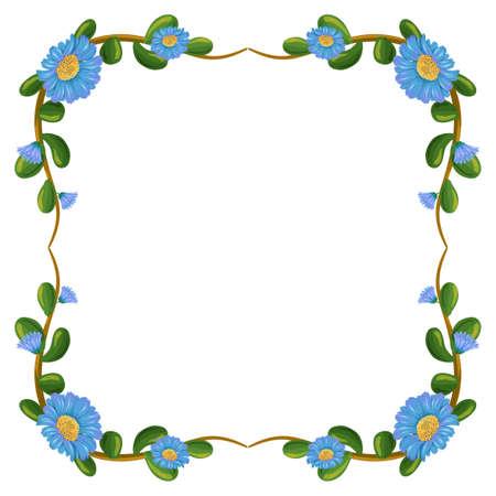 margen: Ilustración de un diseño de la frontera con flores de color azul sobre un fondo blanco
