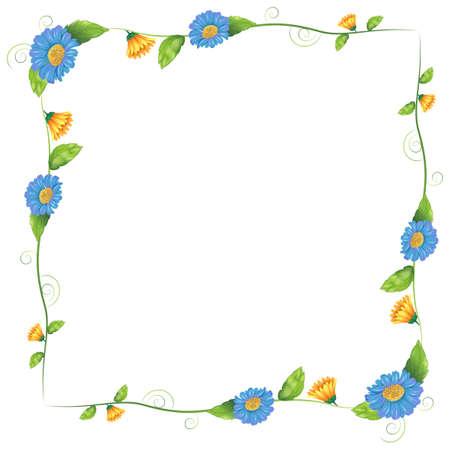 margen: Ilustración de un diseño de la frontera hecha de plantas con flores sobre un fondo blanco