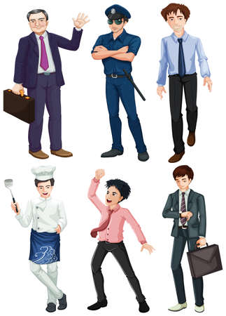 enforcer: Illustration of the different professions of men on a white background