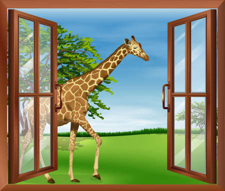 open eye: Illustration of a giraffe outside the window