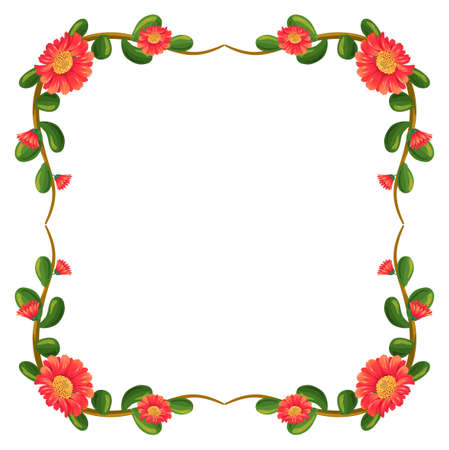 beautify: Illustration of a floral border with orange flowers on a white background