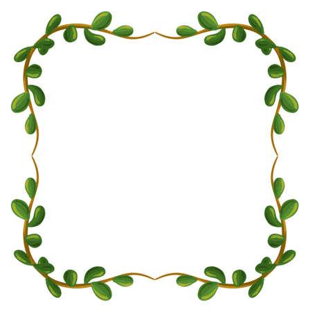 margen: Ilustración de una frontera hecha de hojas sobre un fondo blanco Vectores