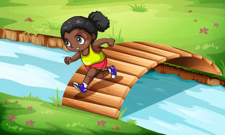anchored: Illustration of a black girl crossing the wooden bridge