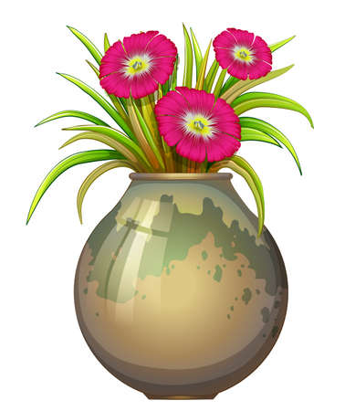 beautification: Illustration of a big pot with flowers on a white background