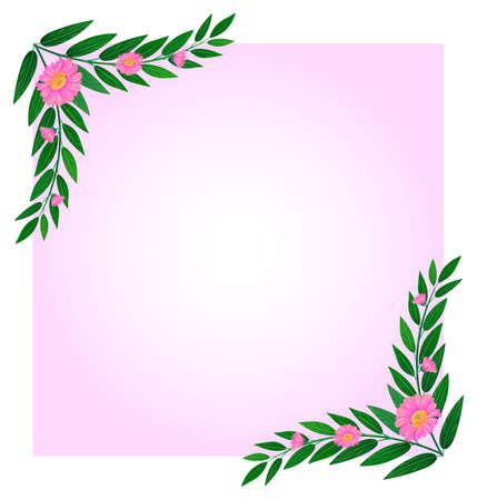 beautify: Illustration of an empty template with pink floral border on a white background Illustration