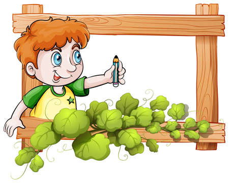 edges: Illustration of a frame with a boy holding a pencil on a white background Illustration