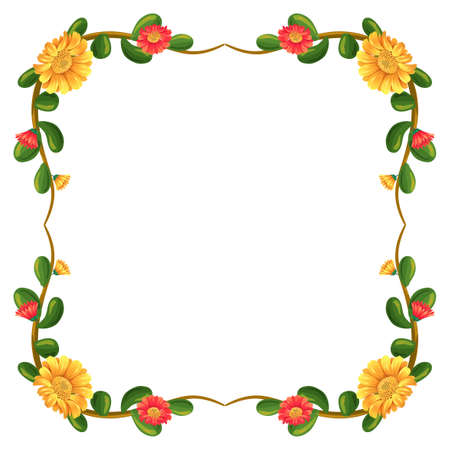 beautification: Illustration of a margin decor with flowers on a white background Illustration